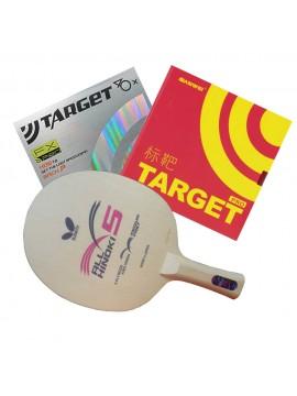 ไม้ปิงปองประกอบจัดชุด Butterfly Japan All Hinoki 5 + ยางปิงปอง Sanwei Target Provincial + Sanwei Target Europe FX