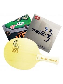 ไม้ปิงปองประกอบจัดชุด XVT Balsa Carbon + ยางปิงปอง DHS Tinarc 5 + ยางปิงปอง Gambler Aces